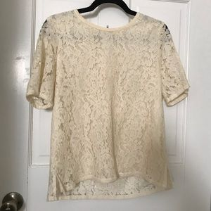 Lace madewell top with zipper detail